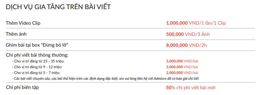 Báo giá đăng bài Pr trên báo VTV.vn